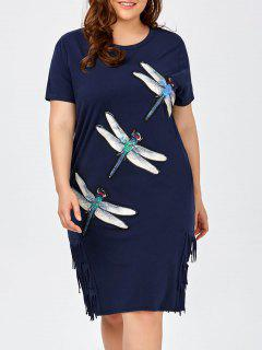 Plus Size Insect Sequined Fringe Tee Dress - Purplish Blue
