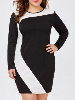 Plus Size Two Tone Fitted Sheath Dress - White 5xl