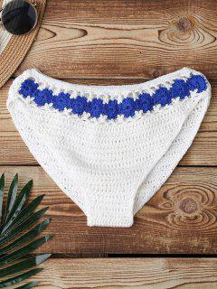 Crochet Color Block Bikini Bottom - White