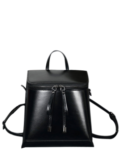 Zip Around Faux Leather Backpack - Black