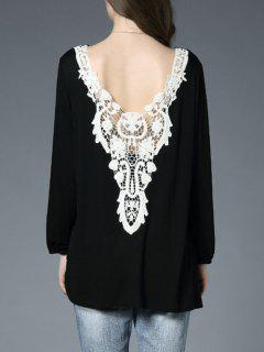 Lace Panel Backless Oversized T-Shirt - Black