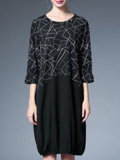 Geometric Print Shift Dress - Black