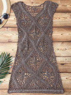 Crochet V Neck Cover Up - Taupe
