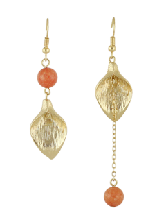 Leaf Chain Beads Asymmetric Earrings - Orange
