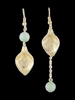 Leaf Chain Beads Asymmetric Earrings - Blue
