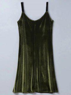 Casual Velvet Midi Dress - Army Green M