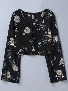 Cropped Floral Blouse - Black M