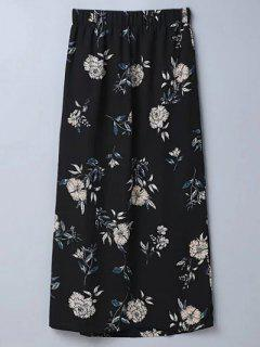 Slit Floral A-Line Skirt - Black M