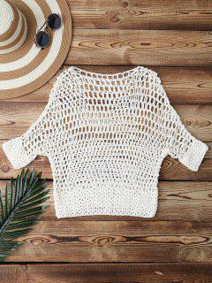 Hollow Out Crochet Cover Up - White