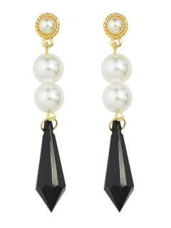 Geometric Faux Pearl Drop Earrings - Black