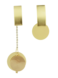 Los Pendientes De Gota Asimétrica Del Círculo De Diamantes De Imitación - Dorado