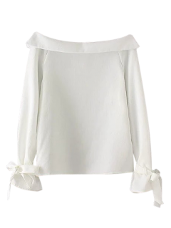 BOWKNOT Schulterfrei Bluse - Weiß