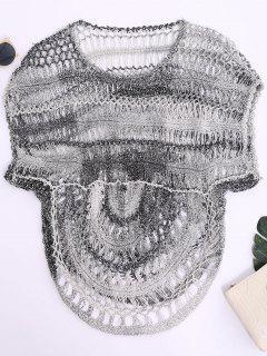 Dolman Sleeve Crochet Sheer Top - Black Grey L