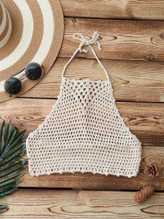Crochet High Neck Swim Top - Apricot
