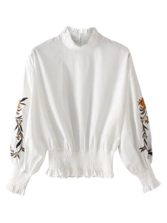 Floral Bordado Shirred La Blusa Hem - Blanco L