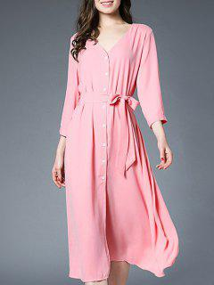 Slit Button Up Shirt Dress With Belt - Pink