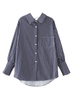 Pocket Flat Collar Striped Shirt - Blue