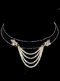 Collar Gargantilla Del Rhinestone De La Vendimia Con Flecos - Negro