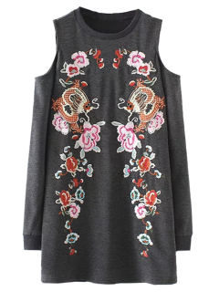Embroidered Cold Shoulder Sweatshirt Dress - Gray L