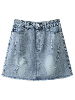 Frayed Distressed Denim Mini Skirt - Light Blue L