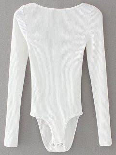 Low Back Ribbed Bodysuit - White S