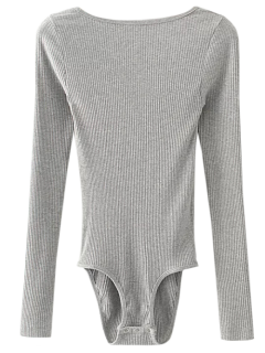 Low Back Ribbed Bodysuit - Gray S