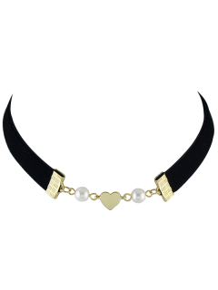 Faux Pearl Heart Velvet Choker Necklace - Black