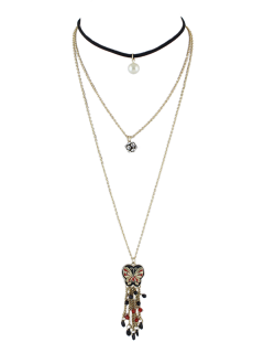Ensemble De Collier Strass De Perles Artificielles Et Pendant Papillon - Or