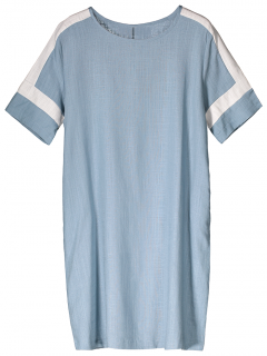Color Block Linen Casual Dress - Light Blue M