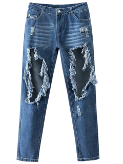 Cut Out Destroyed Tapered Jeans - Blue L
