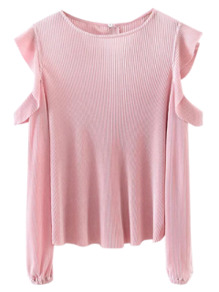 Frilled Cold Shoulder De La Blusa - Rosa M