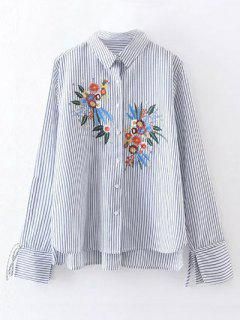 High Low Flower Embroidered Striped Shirt - Stripe L