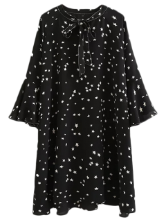 Star Print Flare Sleeve Bow Tie Dress - Black S