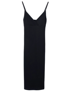 Slip Surplice Slinky Tank Dress - Black S