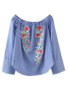 Embroidered Off Shoulder Striped Blouse - Stripe S