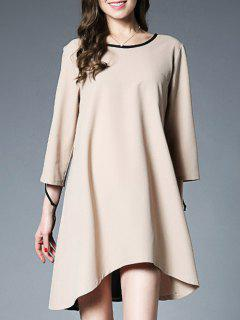 High Low Color Block Flippy Chiffon Dress - Nude