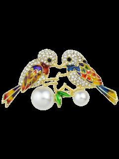 Perlas De Imitación Del Rhinestone De La Broche De Aves - Dorado