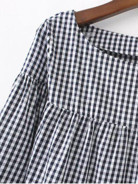 womens Casual Checked Straight Dress - RED S Mobile