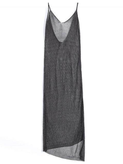 lady High Slit Cami Maxi Cover Up - BLACK ONE SIZE Mobile