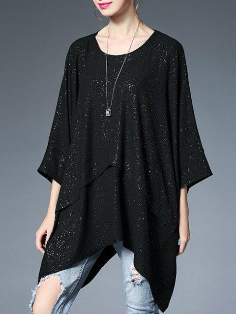buy Oversized Batwing Glitter Top - BLACK ONE SIZE Mobile