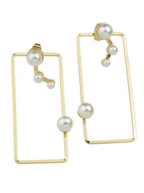 boucles d'oreilles géométriques avec fausses perles pour vestes - Or  Mobile