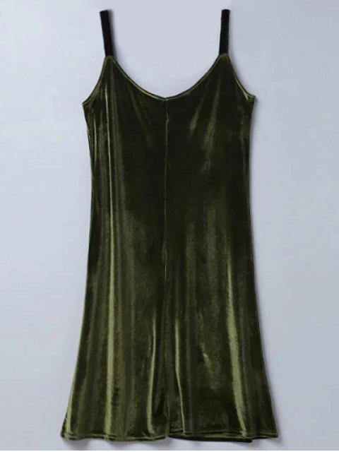 sale Casual Velvet Midi Dress - ARMY GREEN M Mobile