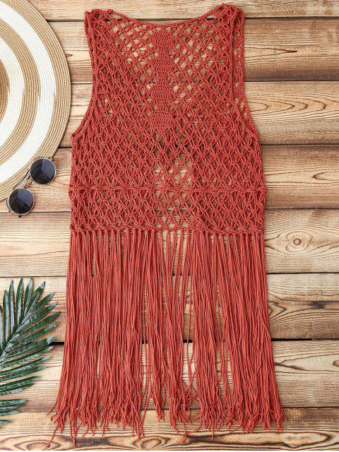 hot Open Front Fringes Crochet Cover Up - BRICK-RED ONE SIZE Mobile