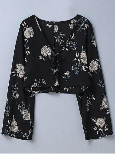 new Cropped Floral Blouse - BLACK M Mobile