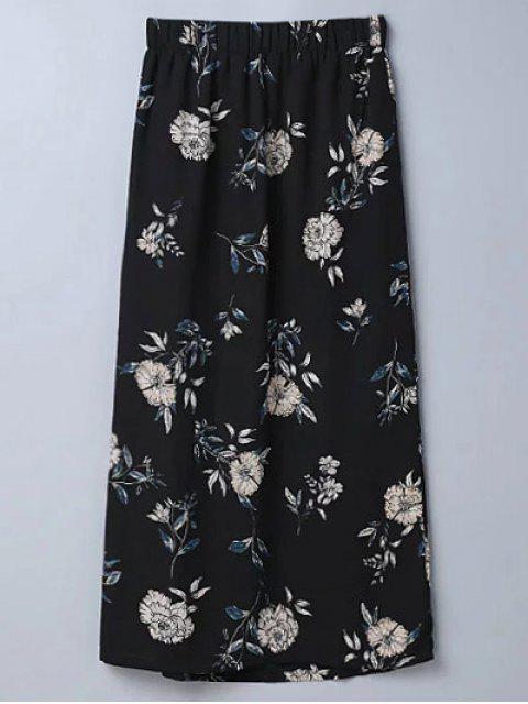 best Slit Floral A-Line Skirt - BLACK L Mobile