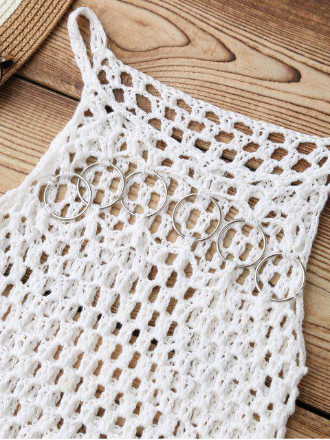 trendy Fringed Crochet Cover Up - WHITE ONE SIZE Mobile