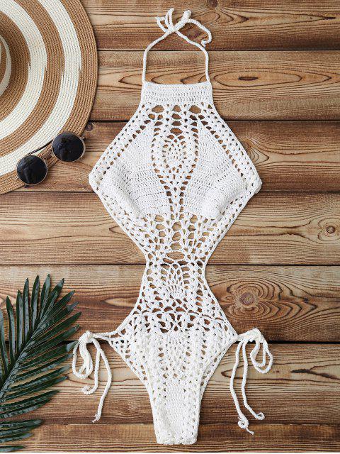 ladies High Cut Crochet Swimwear - WHITE ONE SIZE Mobile