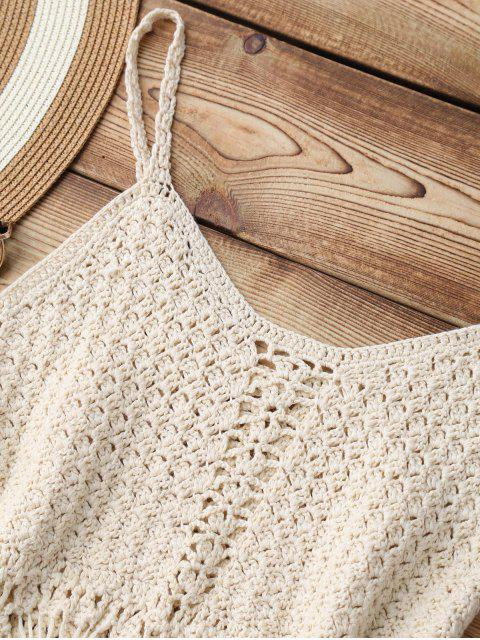 fashion Fringed Crochet Cover Up Top - APRICOT ONE SIZE Mobile