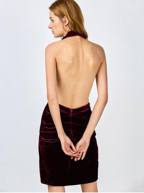 best Sexy Backless Velvet Draped Tulip Dress - BURGUNDY L Mobile