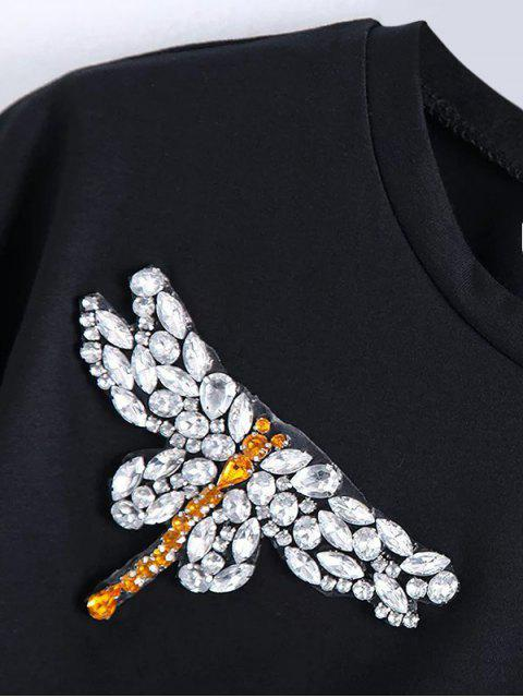 women's Dragonfly Rhinestone Cropped T-Shirt - BLACK S Mobile